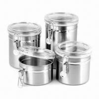 Buy cheap Stainless Steel Canisters with Acrylic Lid and 5-inch Diameter, 19/15.5/12.5/9 from wholesalers