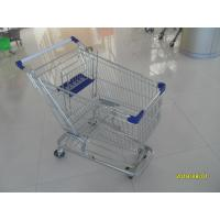 Quality 100L Low Tray Supermarket Shopping Trolley Zinc Plated  With Blue Baby Seat for sale