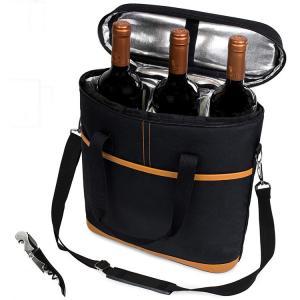 China 3 Bottle Wine Carrier Bottle Cooler Tote Bag With Bottle Opener on sale