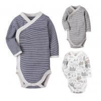 Quality Long Sleeve Cotton Baby Clothes Gift Set Stripe Printed With Snap Side Openning for sale