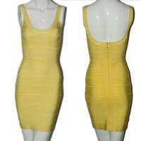 Quality Quality approval fashion yellow sexy spaghetti strap backless short bodycon bandage dress for sale