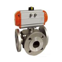 China Sanitary SS 304,316 3 way Ball Valve Pneumatic operated Flanged End,PN16,PN40,L Port/T Port on sale
