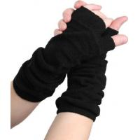 Quality Acrylic Black / Green / Yellow / Grey Comfortable Fingerless Gloves Knitting Arm Warmers For Ladies for sale