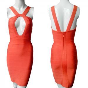 Quality Unique design sexy ladies orange keyhole spaghetti strap short bodycon bandage dress for sale