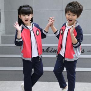 Quality Kids Kindergarten Primary School Uniforms Long Sleeve Stand Collar Sportswear for sale
