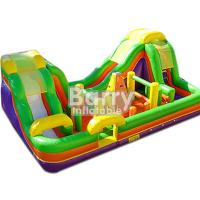 China Outdoor Inflatable Bouncy Obstacle Course Combo Slide With Small Climbing Wall wholesale