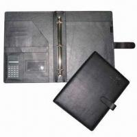 Quality File Folder, PVC Leather Cover with Strap for sale