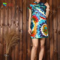 China Soft Casual Wear Short Cheongsam Dress , Vintage Chinese Floral Dress on sale