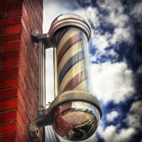 Quality Classic Chrome Barber Pole Sign Red White Blue Spinning Light Salon Shop for sale