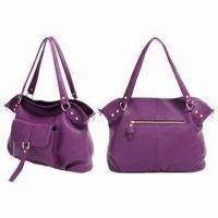 Rosy Casual Handmade Leather Handbags With Polyester Lining Ladies Bags