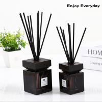 Quality Square Home Reed Diffuser Wooden Bottle Cap Pure Natural Fragrance Reed Diffuser for sale