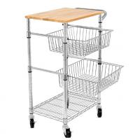 Quality 3 Tiers 350mm Depth Wire Grid Basket Movable Shelving , Metal Basket Storage Unit for sale