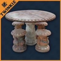 Quality Red Marble Garden Ornaments For Decoration With Round Table , Hand Carved for sale