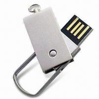Quality Metal USB Flash Drive in Swivel Design, with Rotary Cap, Color Printing or Laser Engraving for sale