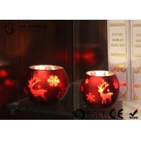 painted ball shape glass candle holder with laser picture with LED tealight