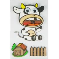 Quality cow scrapbook Layered Stickers / custom die cut stickers 1.0 mm thin for sale