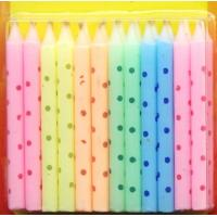 Quality Macaron Color Litte Colorful Dot Printed Birthday Candles for sale