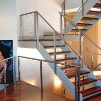 Quality 304 Polished Stainless Steel or Black Cast iron Hidden Double Stringers Support Straight Staircase for sale