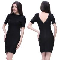 Quality Wholesale/retail simple design elegant short sleeve black short high elastic tight party dresses for sale