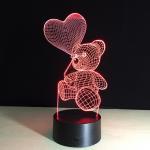 Quality Hot Sale 3D LED Heart Bear Kids Night Light for Baby Room  night light for sale