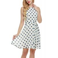 Quality Bow Waist Short Chiffon Summer Dresses , Plus Size Polka Dot Maxi Dress for sale