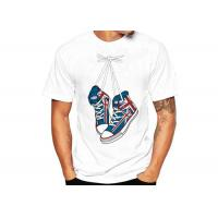 Quality White Sublimation Printed Casual T - Shirts Cotton Crew Neck Regular Fit for sale