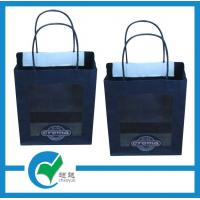 Quality Printed logo paper carrier bags printed with twisted PET window black matt paper for sale
