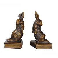 Quality Pushing Bunny Home Decor Bookends Brass Rabbit Figurine Standing On Book Base for sale