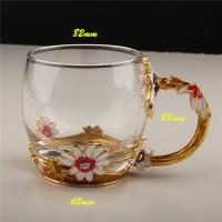 China Luxury Upgrade Daisy Flower Handgrip Lead Free Crystal Enamel Glass Cup with Handle for Sale on sale
