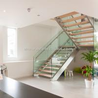 Quality 304 s.s Double Steel Stringer Straight Glass Railing Staircase with Wooden Tread for sale