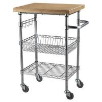 Buy cheap Chrome Finish Kitchen Wire Utility Cart With Wheels Multifunctional from wholesalers