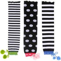 Quality Sweat-absorbent Customized Black + White Knitted Leg Warmers For Children / Girls With Stripes / Dots for sale