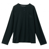 China 180gsm Polyester 65% Cotton 35%  Black Long Sleeve Knitted Shirt on sale