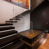 Quality Frameless Glass Railing Floating Straight Exterior Stair Design for sale