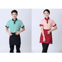 Quality Embroidered Unique Restaurant Uniforms With Single Row Transparent Resin Buttons for sale