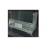 China Square Wire Mesh Container Wire Mesh Storage Crates With Half Drop Gate on sale