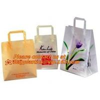 China Frosted Die Cut Handle Take Out Bag for Bread Packing,reinforce die cut handle plastic LDPE foldable shopping poly bag on sale