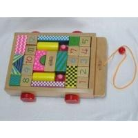 China Baby Tractor Triangle / Half Round / Rectangular Beech Childrens Wooden Building Blocks on sale