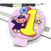 Quality Specialty Round Numeral Candles For Birthdays With Colored Background Star Printed for sale