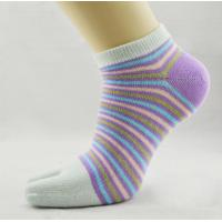 Quality OEM Comfortable Organic Cotton  Stripe Sweat-absorbent Five Toe Socks For Lady for sale