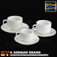 China Factory Direct Offer 220ml White Porcelain Durable Use Coffee Cup with Saucer to Coffee Shop on sale