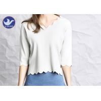 Buy Wavy Edge Womens Knit Pullover Sweater Half Sleeves Short Body Summer Knitwear at wholesale prices