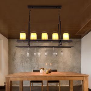 Quality Candlestick Vintage Pendant Lights rectangle Black Color Chandelier Hanging Lamp (WH-VP-53) for sale