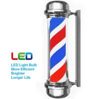 """Quality Acrylic Rotating Barber Pole Spinning Red White Blue Stripe Plated Flat Top 28"""" for sale"""