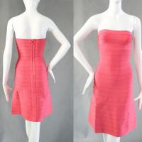 Quality Dramatic pink strapless knee length bodycon bandage bridesmaid dress for sale
