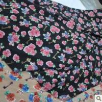 Quality Large Flower Printed Velvet Chiffon Fabric for sale