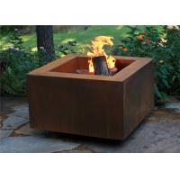 Quality Wood Burning Square Metal Fire Pit , Square Garden Fire Pit Simple Design for sale