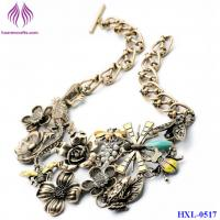 Quality Vintage Jewelry Metal Flower pendant retro gold flower necklace jewlery for sale