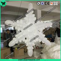China 1.5m 210T Polyester Cloth White Inflatable Snowflake For Christmas Decoration on sale