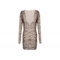 Leopard Print Women's Knit Cardigan Sweaters Long Style Deep V Neck for Autumn